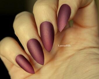 Dark mauve delicate shimmer stiletto false nails! Matte mauve pink fake nails, red nails burgundy nails