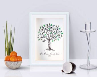 Personalised Family Fingerprint Tree- Ideal Christmas Gift!