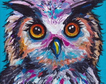 Owl art print from original canvas painting, colorful fun owl art
