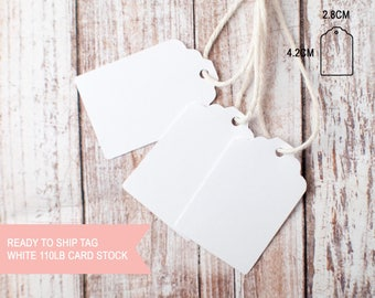 25pcs Blank white coloured small scallop top tags 110lb card stock ready to ship