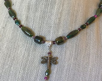Dragonfly Green and Pink Bead Necklace