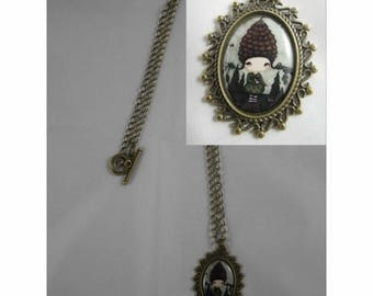 Col054 - Necklace / bronze necklace and cabochon girl