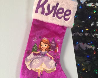 "Sofia the 1st Princess  18"" Velvateen Christmas Stocking Plush Cuff - Personalized"