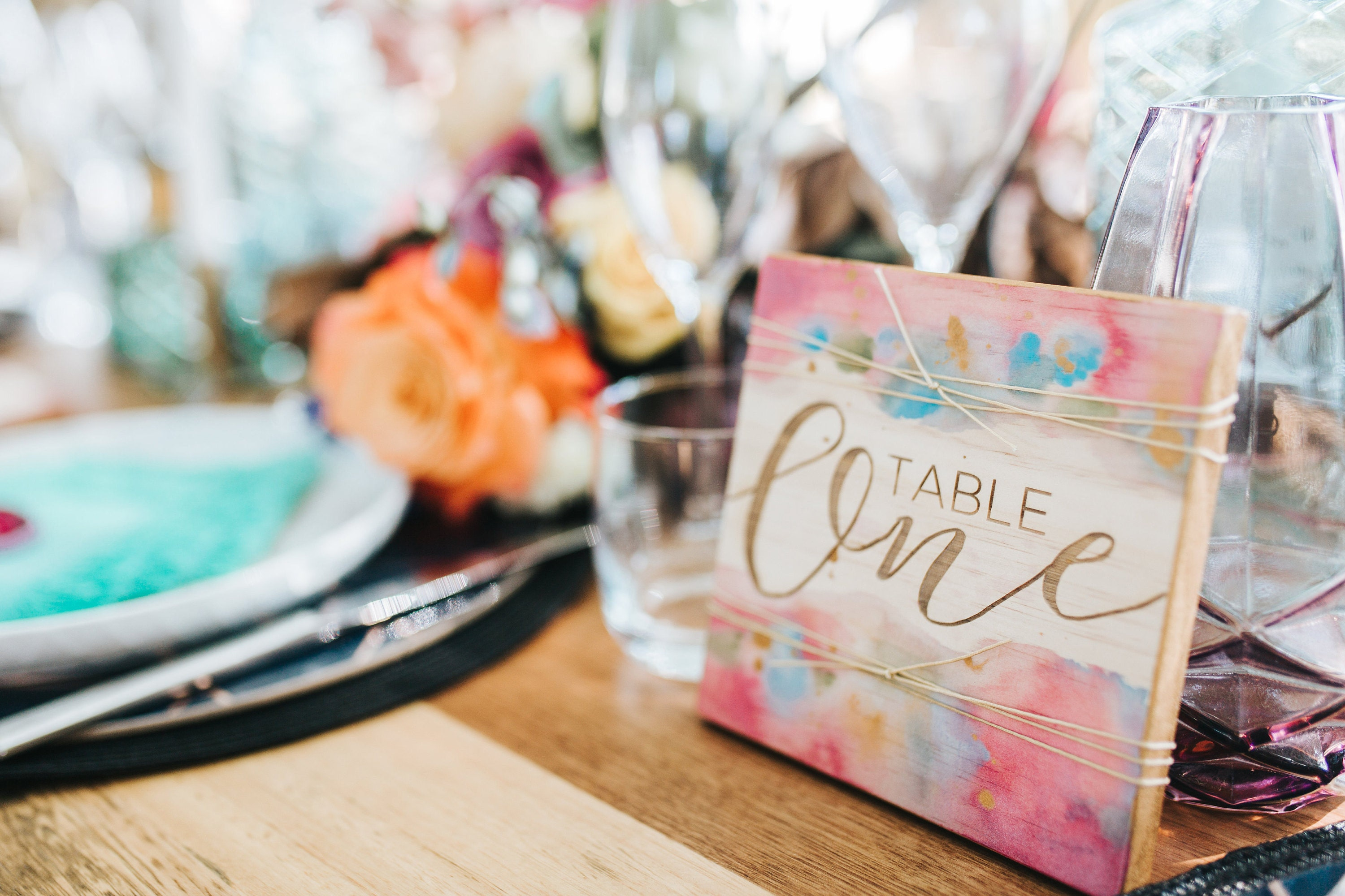 Bohemian wooden engraved table numbers