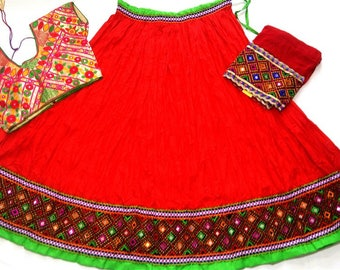 Navratri chaniya choli red colour with embroidery work Lehenga Choli by Indian Designer.