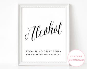 Alcohol Wedding Sign, Wedding Bar Sign, Alcohol Sign, Printable Wedding Poster, Wedding Alcohol Print, Wedding Printable Sign, Bar Poster