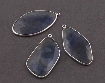 VALENTINE DAY SALE 3 Pcs Blue Sapphire 925 Sterling Silver Faceted Single Bail Pendant - 38mmx19mm-40mmx21mm Ss1690