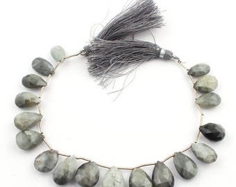 Valentines Day 1 Strand Black Rutile Faceted Pear Drop Briolettes - Tourmilated Quartz Pear Beads 15mmx11mm-20mmx12mm 9 Inches SB1785