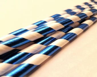 Blue and White Paper Straws ( 6 Count)
