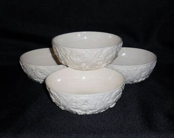 Spode Imperial Fancies Embossed Off White Coupe Cereal Bowls ~ Set of 4
