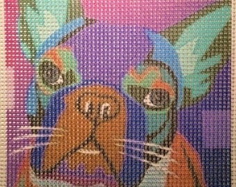 "Needlepoint canvas ""Illustrated Colorful Pug"" # D6"