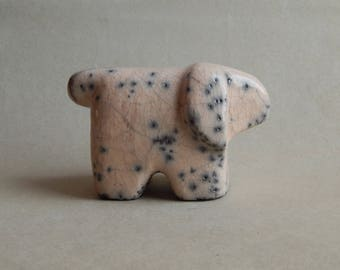 """Ceramic sculpture   of the dog """"White dog"""",ceramics of Raku,a figurine of a dog, a white dog statuette, pets, a gift for him, a gift for her"""