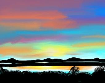 Sunset Northern California landscape, wetlands in vibrant colors, digital art print
