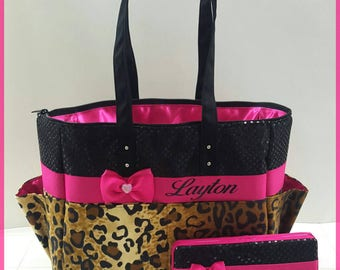 Cheetah Leopard diaper bag. Matching wipe case. Bow. Hot pink. Black sequin. Tote bag. Personalized