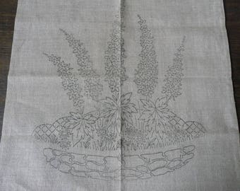 "Vintage Embroidery Linen Cushion Cover Transfer Print to Embroidery 19 1/2"" Sq"