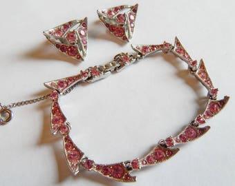 Rare BOGOFF Signed Pink Pave rhinestone bracelet earring set