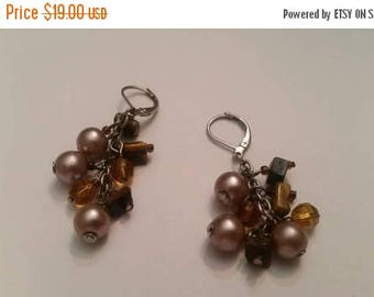 SALE Pearl Amber Crystal Bead Cluster Earrings Silver Dangle Drop Jewelry