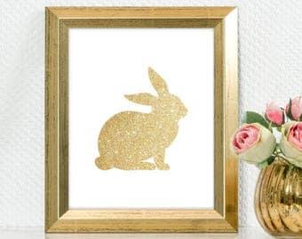 "Gold Glitter design Bunny Rabbit,  5x7"" 8x10"" incld., DIGITAL PRINTABLE File, Gold Sparkle Design Silhouette, Bunny Nursery Decor"