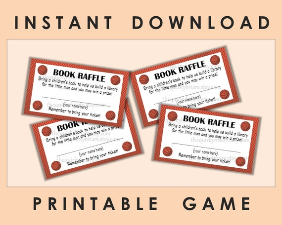 printable book raffle tickets baby shower games baby boy