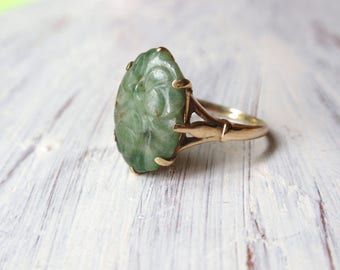 Carved Jade Ring 10k Chinese floral yellow gold unique spinach green oval Victorian claw set