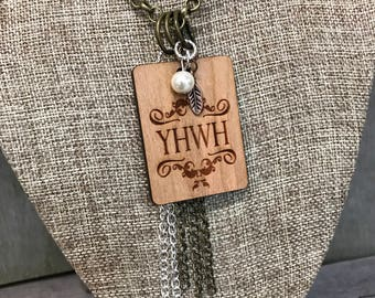 YHWH Quote Necklace, Faith Based Jewelry Group Gift Ideas, Handcrafted Jewelry, Laser Engraved, Customized Jewelry, Bursting Barns Laser Eng