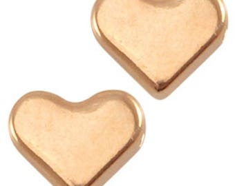 DQ Heart Beads-Zamak-3 pieces-6 mm-Horizontal Reihloch-color selectable (colour: Gold)