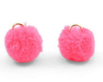 Pompom pendant, pom Poms, Pom Pons-5 PCs.-Ø 15 mm-Color selectable (color: pink)
