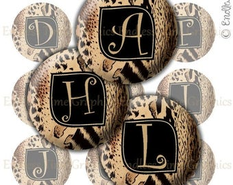 SALE 40% Off Animal Print Bottle Cap Images ~*DIGITAL*~ Zebra Leopard Cheetah Print Alphabet ~*Digital Collage Sheet*~ 1 Inch Printable Circ