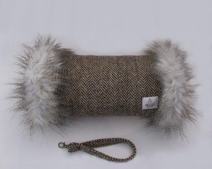 Harris Tweed Brown & Gold Beige Herringbone Hand Muff with Cream Multi Faux Fur Trim