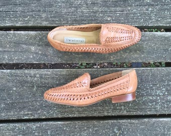 Shoes - Size 6 Tan Leather Woven Flats Loafers slip ons Relativity Womens