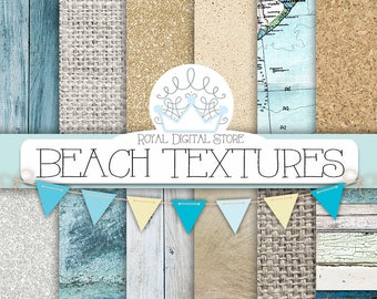 """Beach Digital Paper: """" BEACH TEXTURES"""" with wood texture, marble texture, burlap, linen, gold background, sea textures for scrapbooking"""