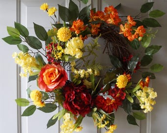 Fall Wreath , Summer wreath Orange Red Yellow Outdoor Wreath