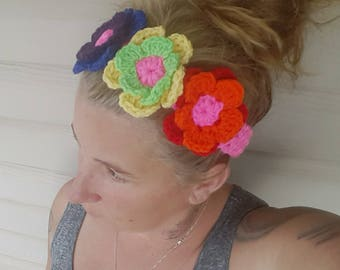 Pride Headband/Crochet Headband/Pride Headwear/Rainbow Headband/Pink Headband/flower headband/Crochet hairband