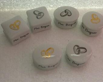 """Boite à bijoux décorée avec des anneaux en or ou platine""""Mes bagues"""""""