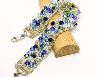 Swarovski & sterling silver bracelet - 3 strand bracelet - statement jewellery