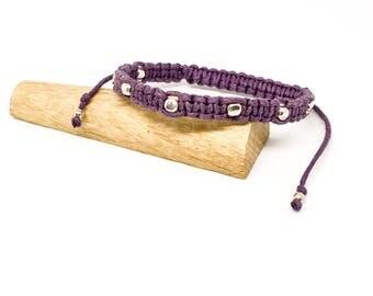 Frienship bracelet - Cotton and sterling silver woven cube bracelet - choose your colour
