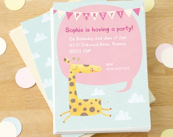 Personalised Girl's Giraffe Party Invitations -- Minimum order 8