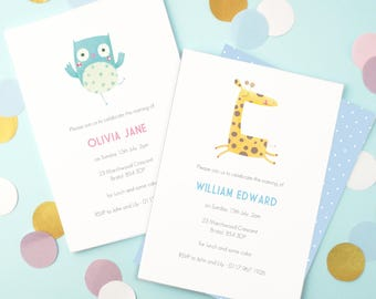 Personalised Owl Naming Day Invitations (2 colours available) -- Minimum order 8