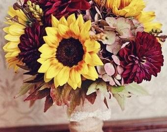 Sunflower Bouquet-Yellow Bouquet-Country Wedding Bouquet, Silk Floral Bouquet-Autumn Wedding -Woodland Bouquet-Cranberry Bouquet