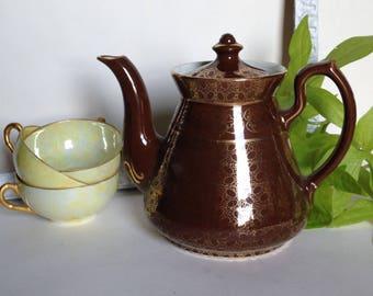 Vintage Hall Tea Pot, HALL Brown and Gold Rare Teapot, Hall Gold Trim Teapot