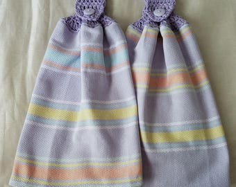 Crochet Kitchen Towels,Pastel Striped Kitchen Towels,Cotton Kitchen Towels,Lavender Kitchen Towels,Wedding Gift,Crochet Gift,ready to ship