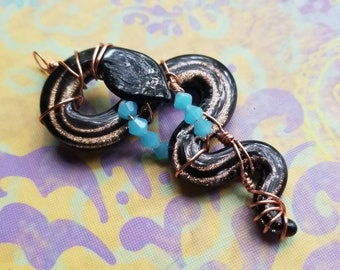 Copper Wire Wrap Glass Snake