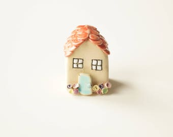 Miniature Ceramic House, Little Rustic House, Love house Ceramics and Pottery, Ceramic by Her Moments