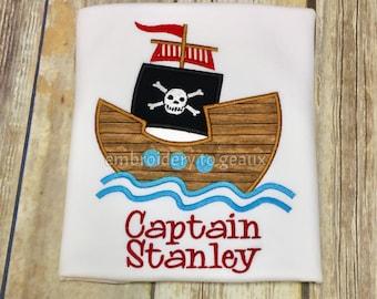 Boys Pirate Ship T-Shirt, Boys Pirate T-Shirt, Personalized Pirate Ship Shirt, Toddler Boys Pirate Shirt, Pirate Birthday T-Shirt