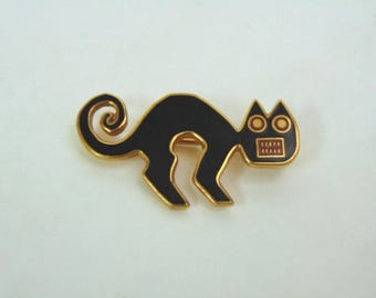 Vintage Brooch - Metropolitan Museum of Art - Black Cat - Gold Tone - From 1985
