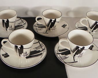 Sango CALLIGRAPHY Cup and Saucer Set (s) LOT OF 5 Larry Laslo