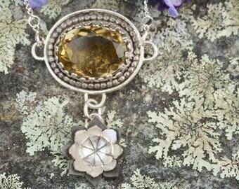 Lemon Quartz Sterling Silver Flower Dangle Necklace Pendant