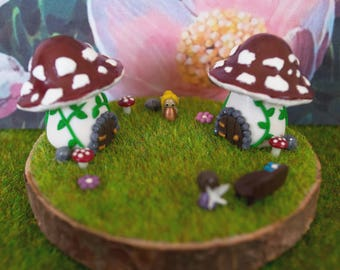 Miniature Double Fairy House Polymer Clay Scenes