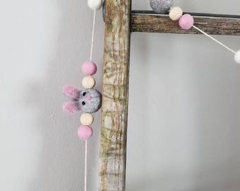 Easter bunny garland. Wood bead garland, felt ball garland decor, Easter decor 5ft spring garland, carrot Garland.