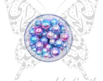 Mermaid Pearls Nail Art 3D Nail Decoration (Blue Gradient)